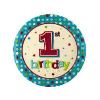 Wholesale 8 pack 1st birthday blue dots 8 3/4 inch plates PA714