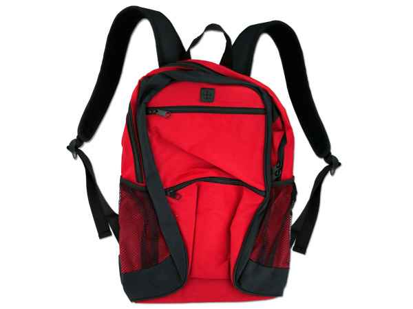 Wholesale poly canvas backpack red with black trim/zipper OC052